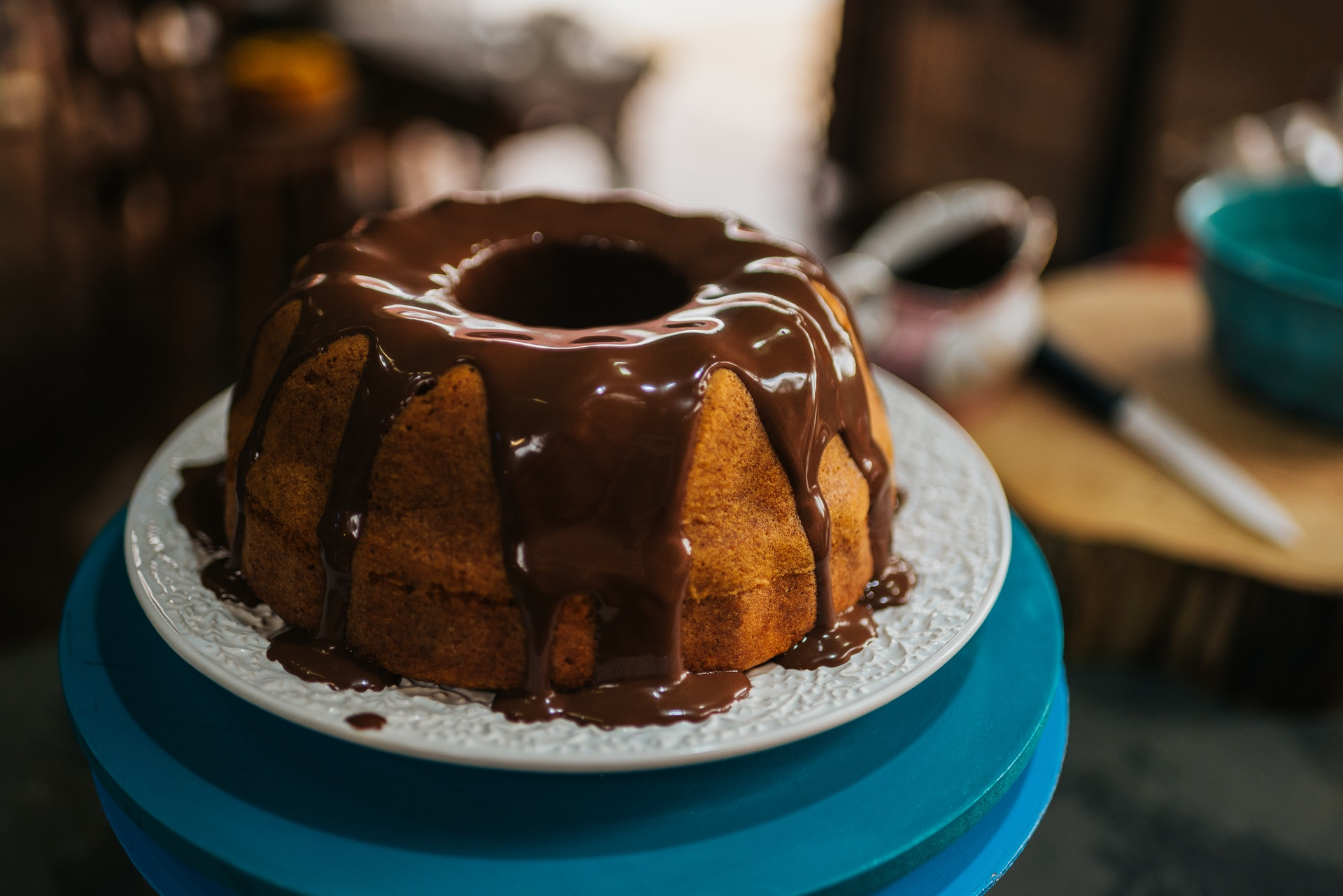 Chocolate drizzled over an appetizing bundt cake