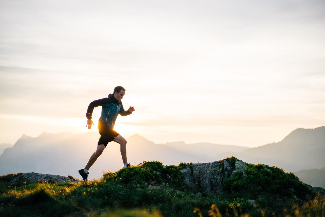 man running on a trail